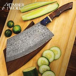 """Timber Wolf Cleaver Butcher Knife II With Wooden Sheath - Damascus Steel Blade, Full-Tang, Wooden Handle, Brass Pins - Length 13 3/4"""""""
