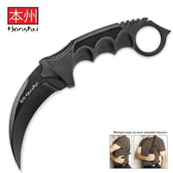 """United Cutlery Black Honshu Karambit With Shoulder Harness Sheath - 7Cr13 Stainless Steel Blade, Over-Molded Handle - Length 8 3/4"""""""
