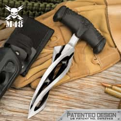 """M48 Cyclone Push Dagger And Sheath - 2Cr13 Cast Stainless Steel Blade, Black Oxide Coating, TPR Rubber Handle - Length 7 3/8"""""""