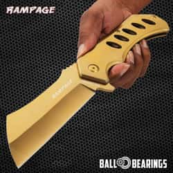 """Rampage Gold Cleaver Pocket Knife - Stainless Steel Blade, Ball Bearing Assisted Opening, Stainless Steel Handle - Length 12"""""""