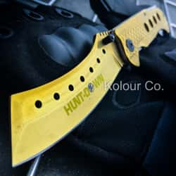 """9"""" TACTICAL CLEAVER Razor Spring Assisted Open Folding Pocket Knife GOLD New"""