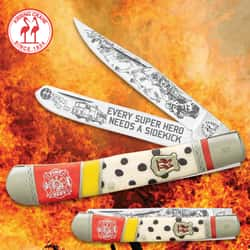 Kissing Crane Dalmatian Fire Dog Trapper Pocket Knife - Stainless Steel Blades, Bone Handle Scales, Nickel Silver Bolsters
