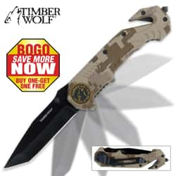 Timber Wolf Assist Rescue Camo Folding Knife 2 for 1