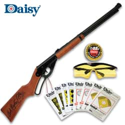 Daisy Red Ryder BB Rifle Fun Kit - Smooth Bore Steel Barrel, Stained Wood Stock And Forearm, .177 Caliber, 350 FPS