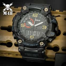 M48 Black Ops Digital Watch - ABS And Polyurethane Case, Resin Window, Polyurethane Band, Water-Resistant, EL Backlight