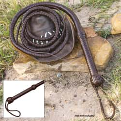 8' Handcrafted Dark Brown Leather Bull Whip - Woven Premium Leather Construction, Wrist Strap, Age-Old Leather Crafting Method