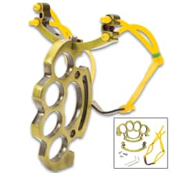"""Knuckle Buster Sling Shot - Heavy-Duty Metal Construction, Strong Rubber Bands - Length 6 1/4"""""""
