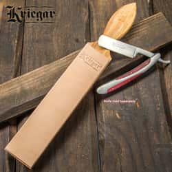 "Kriegar Double Sided Paddle Strop - Smooth Buffalo Leather, Coarse Suede; Solid Hardwood - Sharpest Blade Edges Possible; Edge Maintenance or Finishing - Use with Any Blade: Knives, Razors - 2"" Wide"
