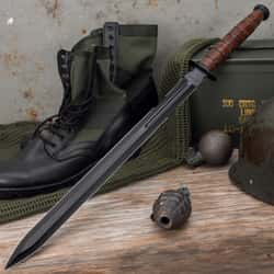 """1942 Double-Edge Marine Combat Sword And Sheath - AUS-6 Stainless Steel Blade, Leather Stacked Handle - Length 27 1/2"""""""