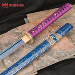 "Shinwa Purple Serpent Katana And Scabbard - 1045 Carbon Steel Blade, Genuine Rayskin, Hardwood Handle, Metal Alloy Tsuba - Length 41"""