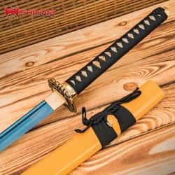 "Shinwa Blue Deep Katana And Scabbard - 1045 Carbon Steel Blade, Genuine Rayskin, Hardwood Handle, Metal Alloy Tsuba - Length 41"""