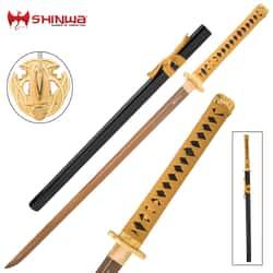 "Shinwa Golden Warrior Katana With Scabbard - 1045 Carbon Steel Blade, Faux Ray Skin, Brass Habaki, Metal Alloy Guard - Length 40"""