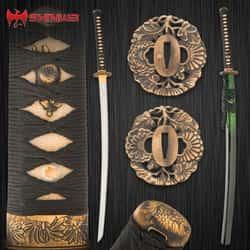 "Shinwa Emerald Dynasty Katana With Scabbard - 1060 Carbon Steel Blade, Genuine Ray Skin, Brass Habaki, Brass Handguard - Length 41"""