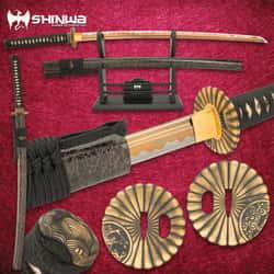 "Shinwa WhirlWind Katana With Scabbard - 1060 Carbon Steel Blade, Genuine Ray Skin, Brass Habaki, Brass Handguard - Length 41"""