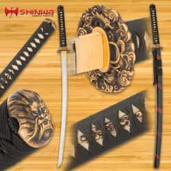"Shinwa Dragon Lair Katana With Scabbard - 1060 Carbon Steel Blade, Genuine Ray Skin, Brass Habaki, Brass Handguard - Length 41"""
