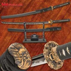 "Shinwa Maelstrom Dragon Katana With Scabbard - 1060 Carbon Steel Blade, Genuine Ray Skin, Brass Habaki, Brass Handguard - Length 41"""