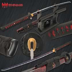 "Shinwa ThunderHead Katana With Scabbard - 1060 Carbon Steel Blade, Genuine Ray Skin, Brass Habaki, Iron Handguard - Length 41"""