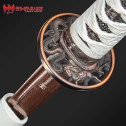 Shinwa White Knight Black Damascus Katana Sword Hand Forged