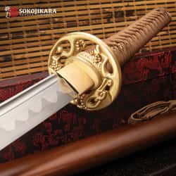 "Sokojikara Dragon Wood Hand-Forged Katana - T10 High Carbon Steel Clay Tempered Blade, Genuine Ray Skin, Brass Tsuba And Pommel - Length 40 1/2"""