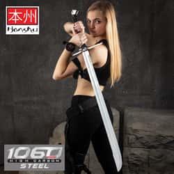"Honshu Boshin Grosse Messer Sword - 1060 Carbon Steel Blade, TPR Textured Handle, Stainless Guard And Pommel - Length 42 1/8"""