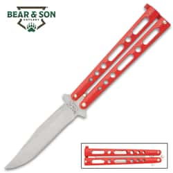 "Bear & Son Red Handle Butterfly Knife - Stainless Steel Blade, Double Tang Pin Design, Metal Alloy Handles - 5 1/8"" Closed"