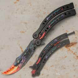 """Dragonfire Butterfly Knife Trainer - Stainless Steel Blade, Water Transfer Design, Stainless Steel Handles - Closed Length 6"""""""