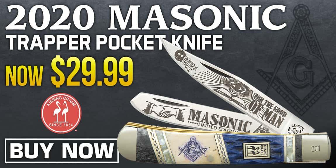 Kissing Crane 2020 Masonic Trapper Pocket Knife