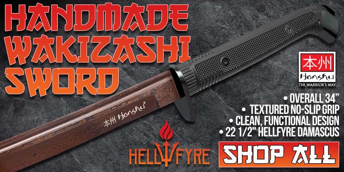 Honshu Boshin HellFyre Damascus Handmade Wakizashi Sword