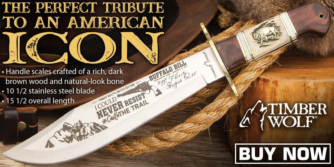 Timber Wolf Buffalo Bill Bowie Knife And Sheath