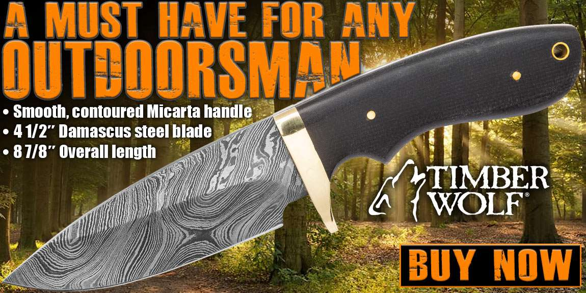 Timber Wolf Bear River Damascus Skinner Fixed Blade Knife