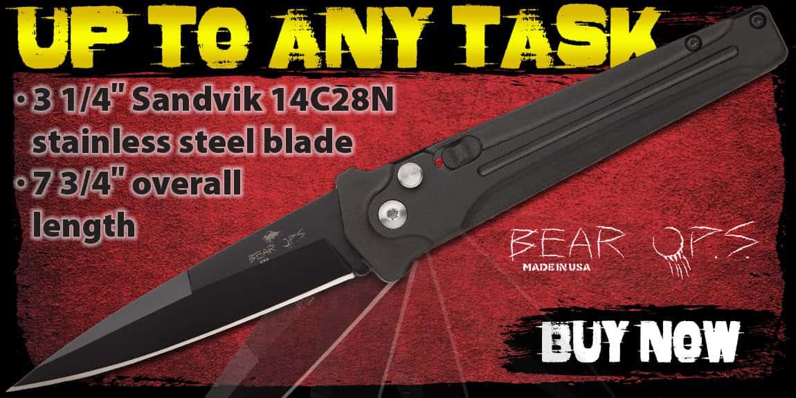 Bear Bold Action Black Automatic Stiletto Knife