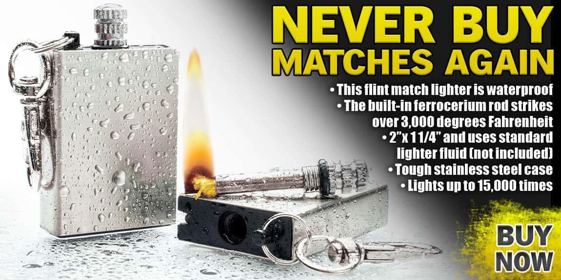 Waterproof Permanent Match Survival Lighter Keychain