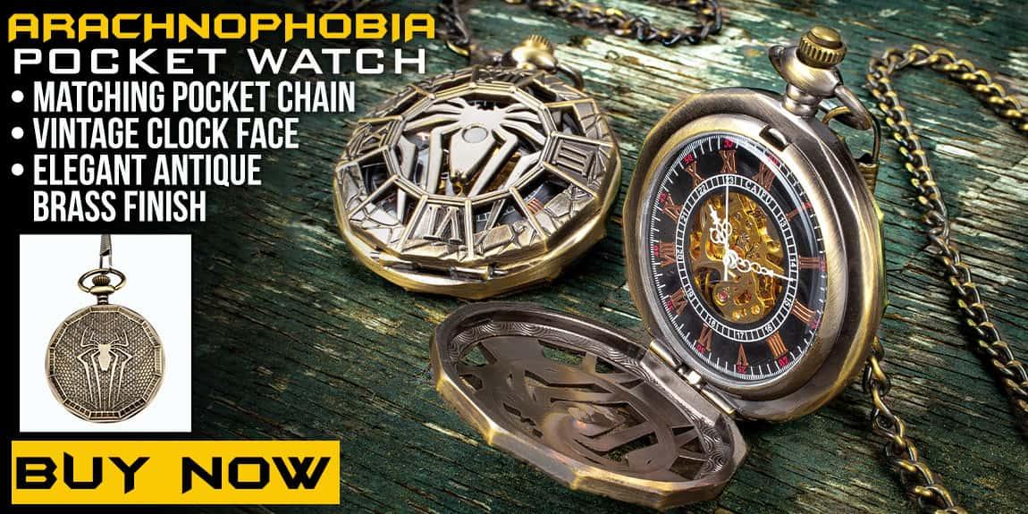 Arachnophobia Pocket Watch With Chain