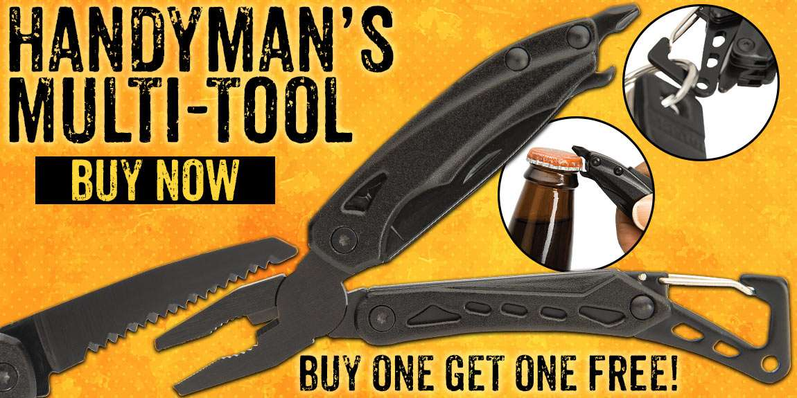 Trailblazer Handyman Black Multi-Tool And Carabiner Clip