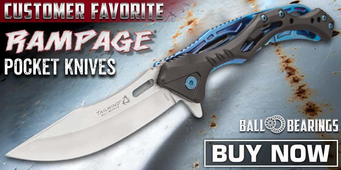 Rampage Blue Tailwind Ball Bearing Pocket Knife
