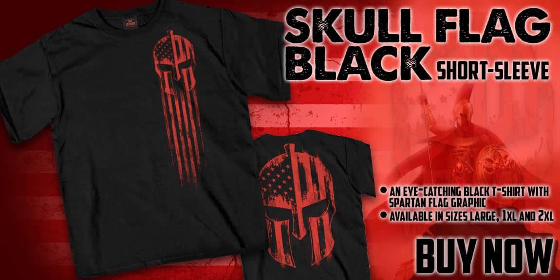 Red Warrior Skull Flag Black Short-Sleeve T-Shirt
