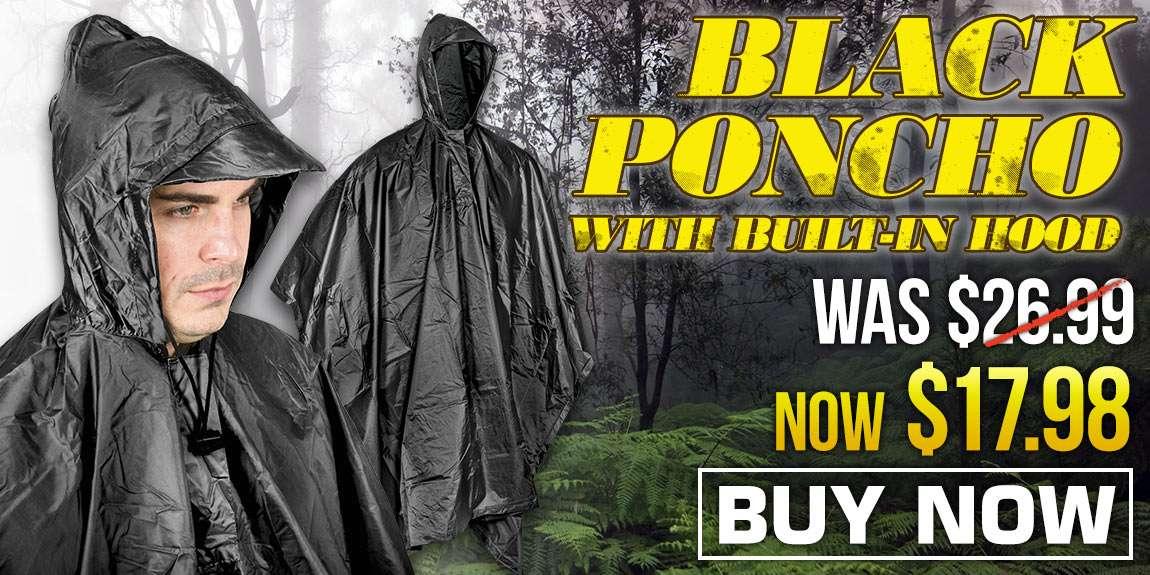 Black Poncho With Built-In Hood
