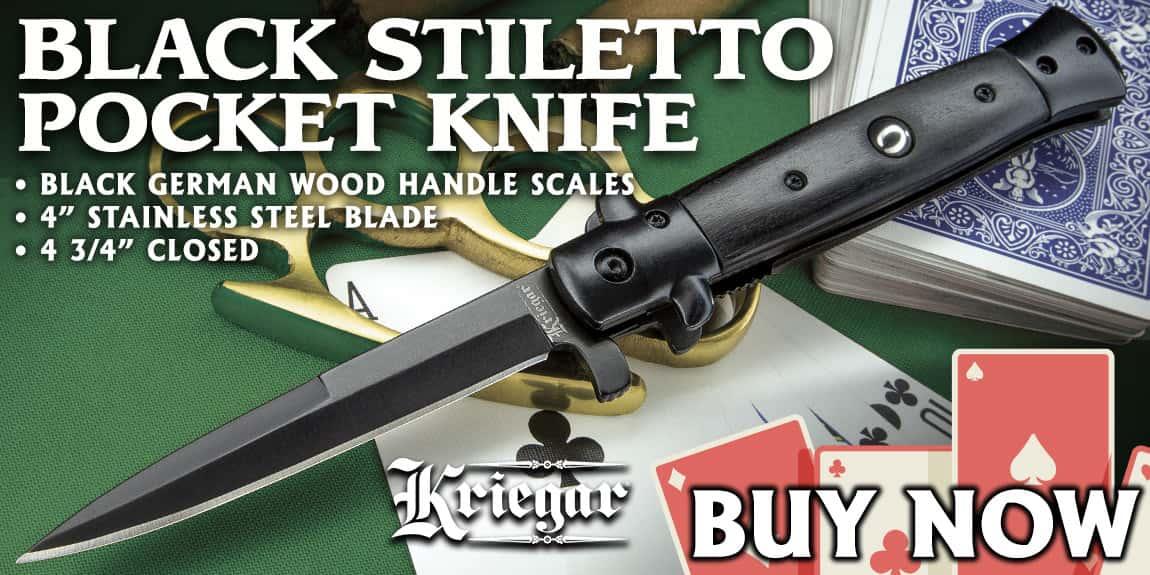 Kriegar Black Stiletto Assisted Opening Pocket Knife