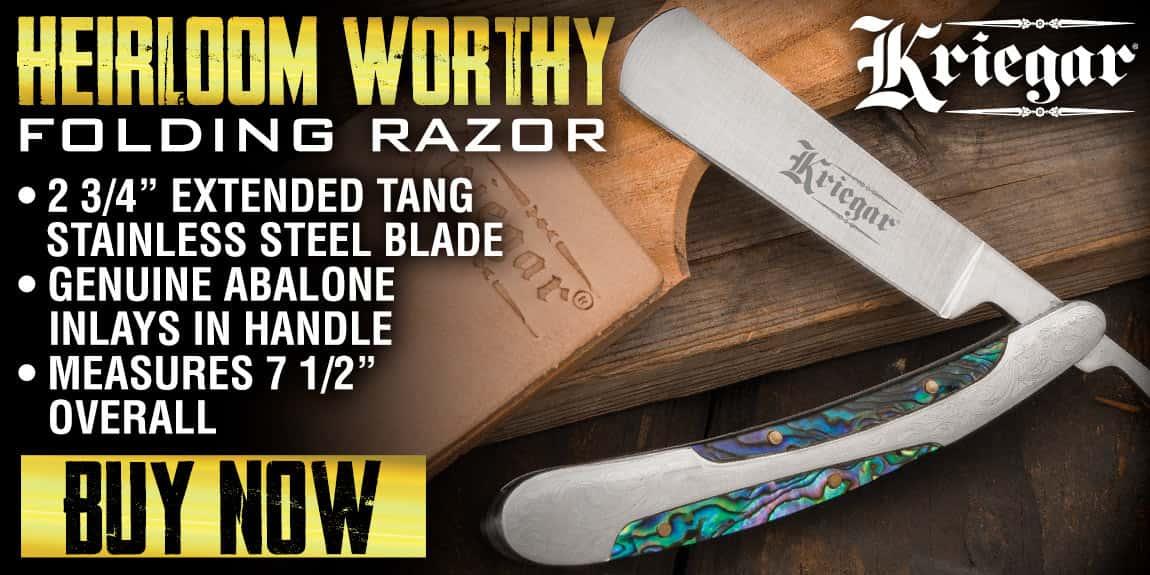 Kriegar Abalone Inlay Folding Razor Knife