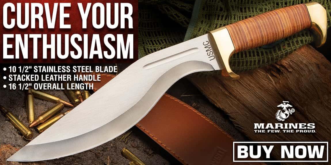 USMC Stacked Leather Handle Kukri Knife