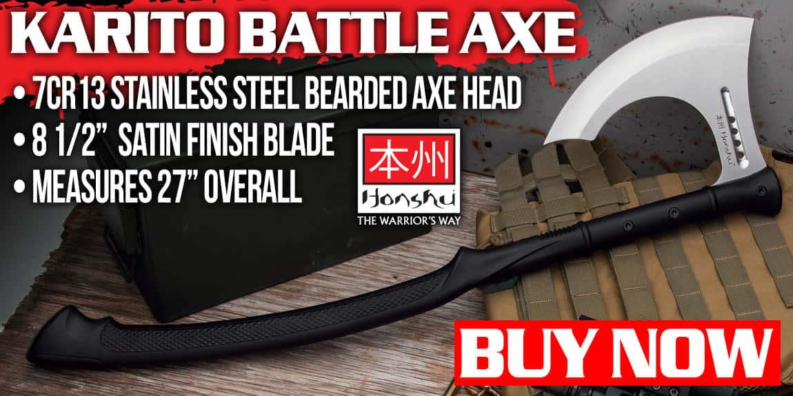 Honshu Karito Battle Axe With Sheath