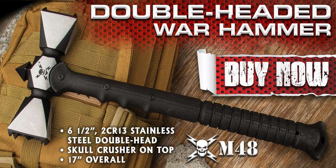 M48 Double-Headed War Hammer With Sheath