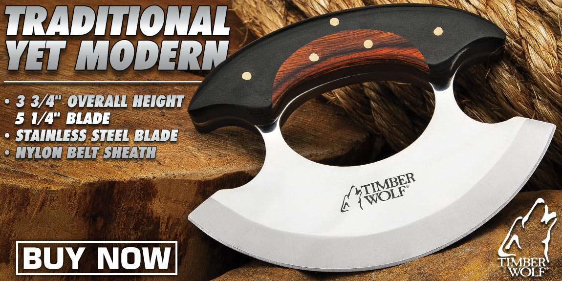 Timber Wolf Shredder Ulu Knife With Sheath