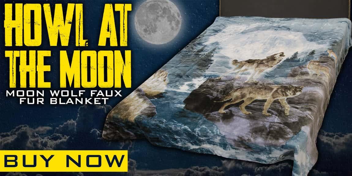 Moon Wolf Faux Fur Blanket