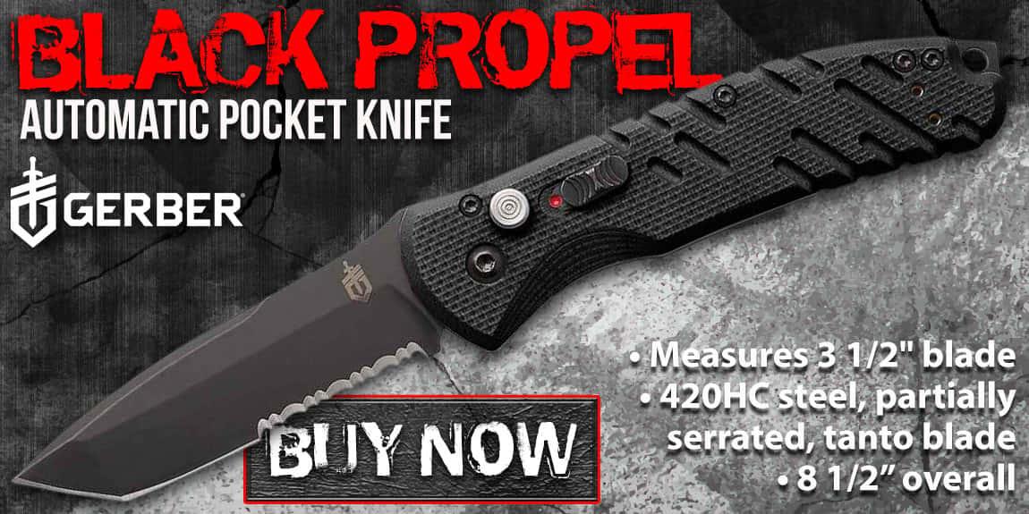 Gerber Black Propel Automatic Pocket Knife