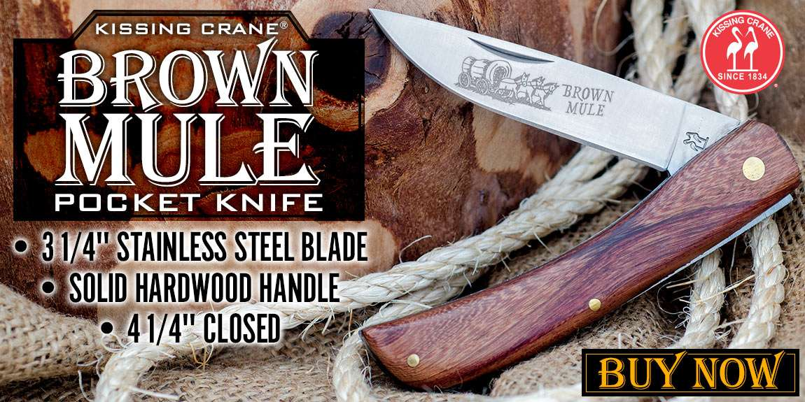 Kissing Crane Medium Brown Mule Pocket Knife