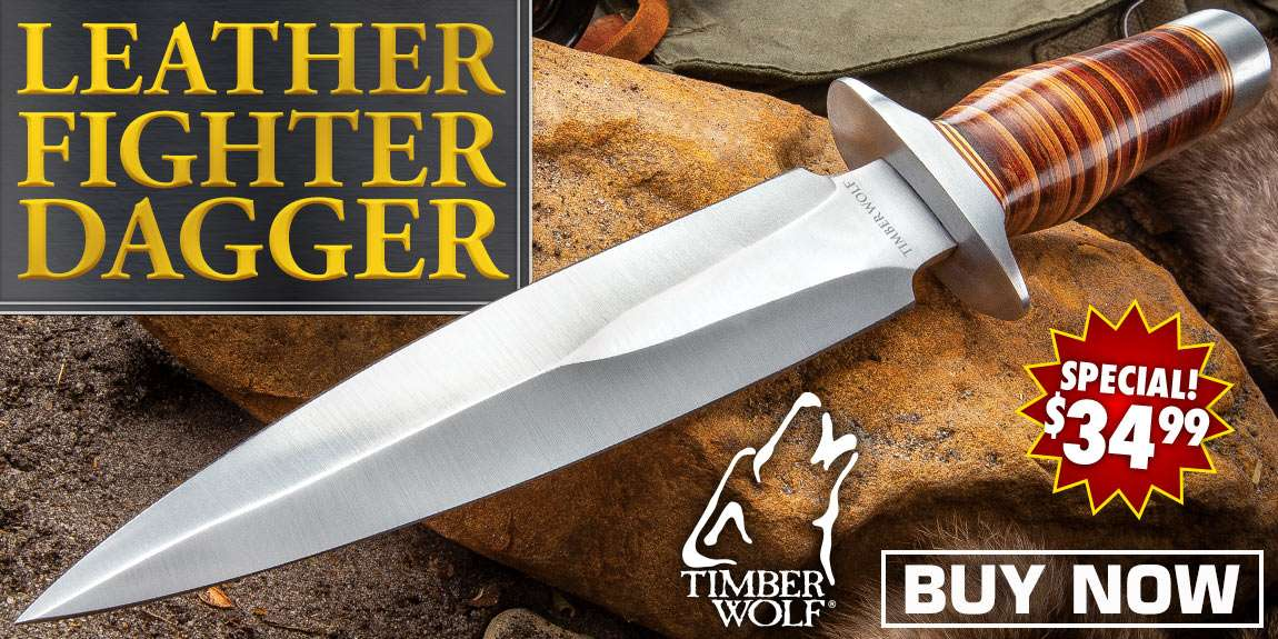 Timber Wolf Leather Fighter Dagger