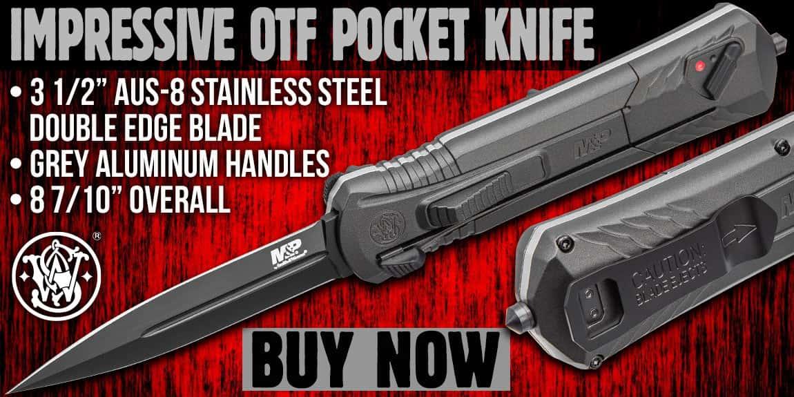 Smith &Wesson Black Oxide OTF Assisted Opening Grey Pocket Knife