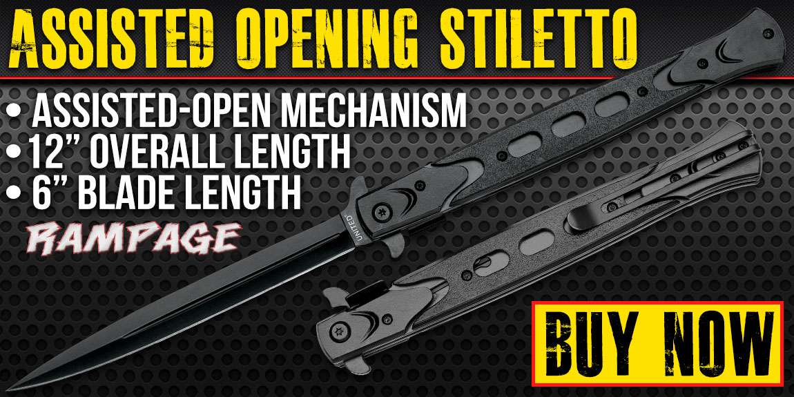 United Cutlery Rampage Black Assisted Opening Stiletto