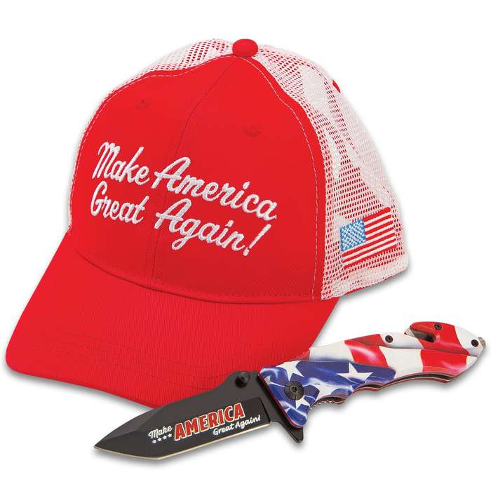 "MAGA Knife And Hat Set - Trucker-Style Cap, Assisted Opening Pocket Knife, ""Make America Great Again"" Artwork"